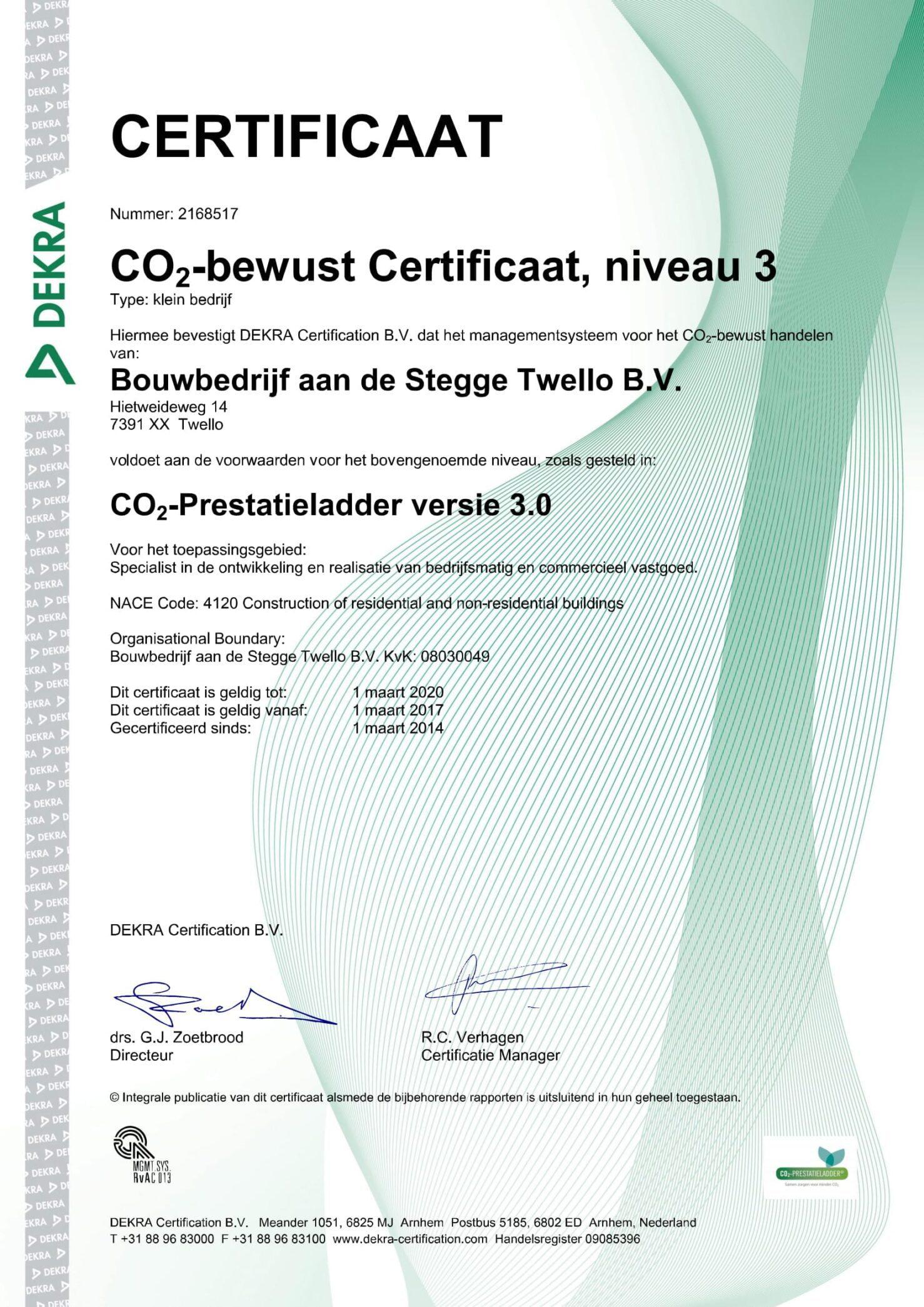 CO2-prestatieladder certificaat ADST
