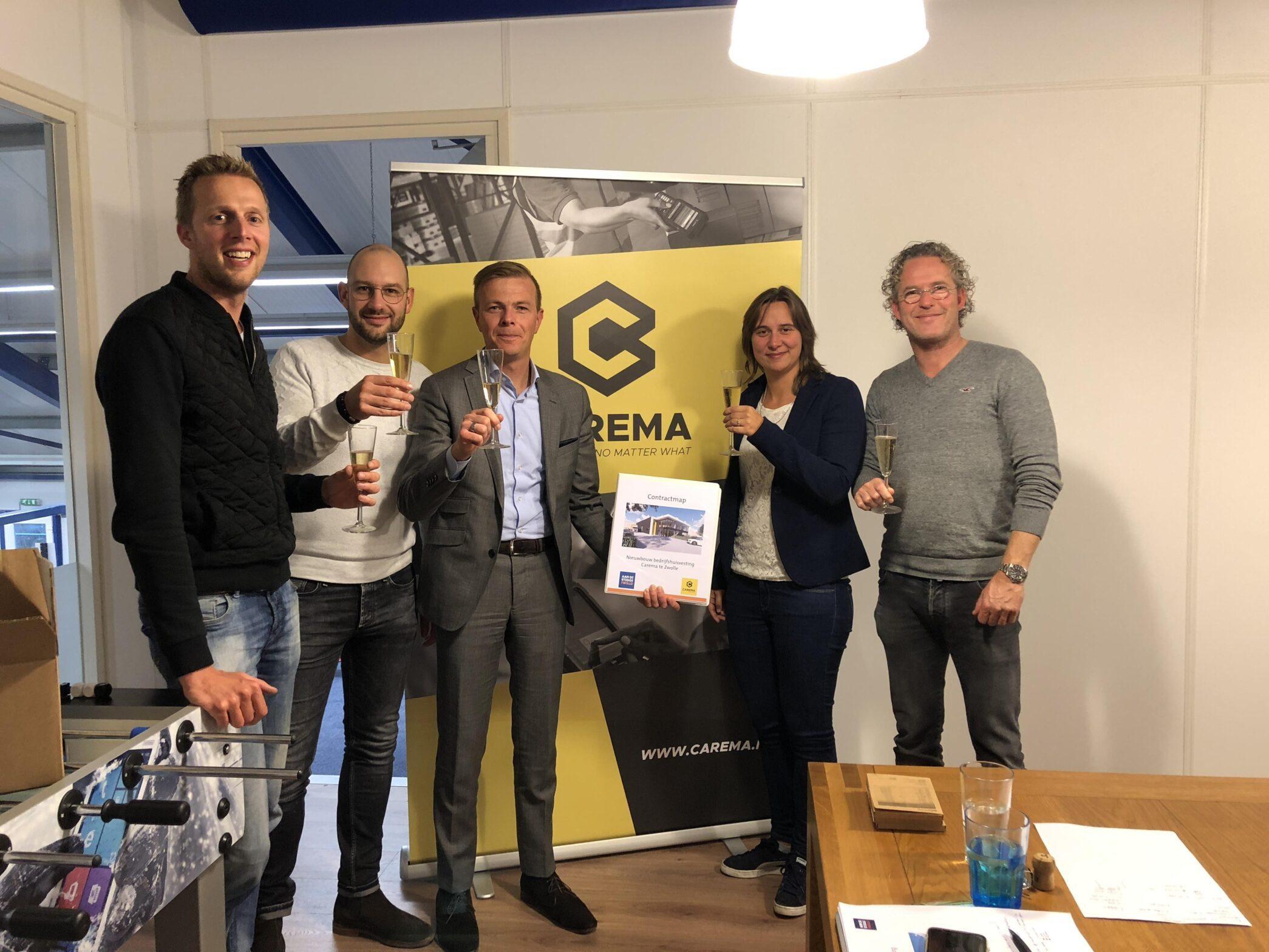Contractondertekening nieuwbouw bedrijfspand Carema Zwolle