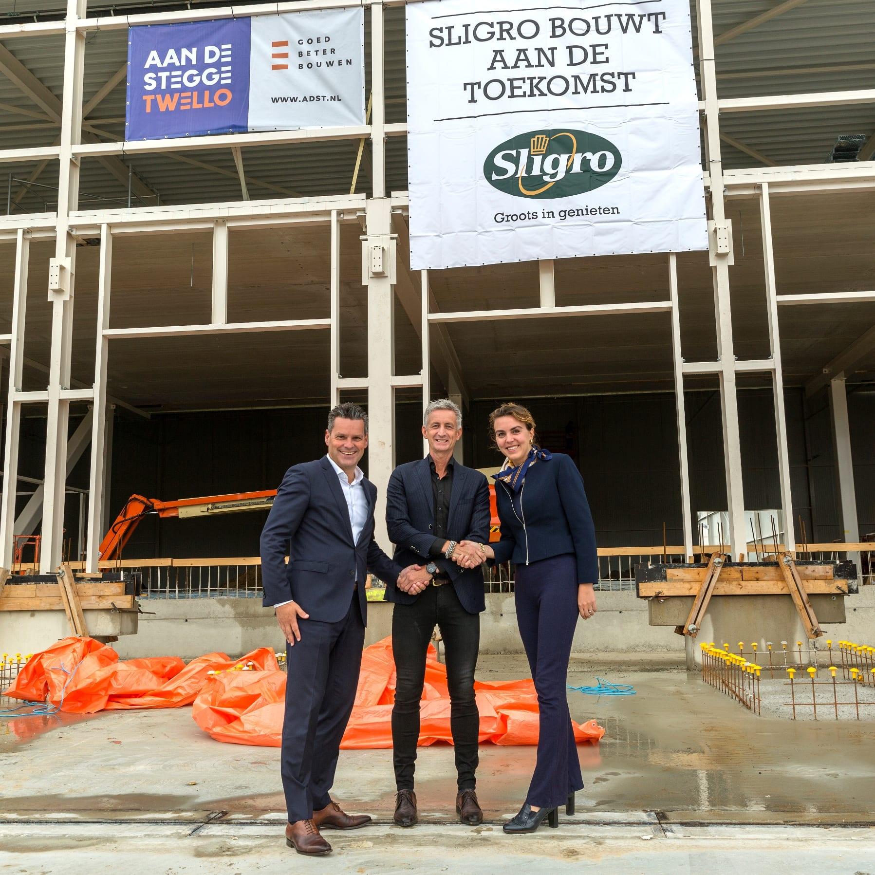 Hoogste punt nieuwbouw bezorgservice distributiecentrum Sligro Maastricht