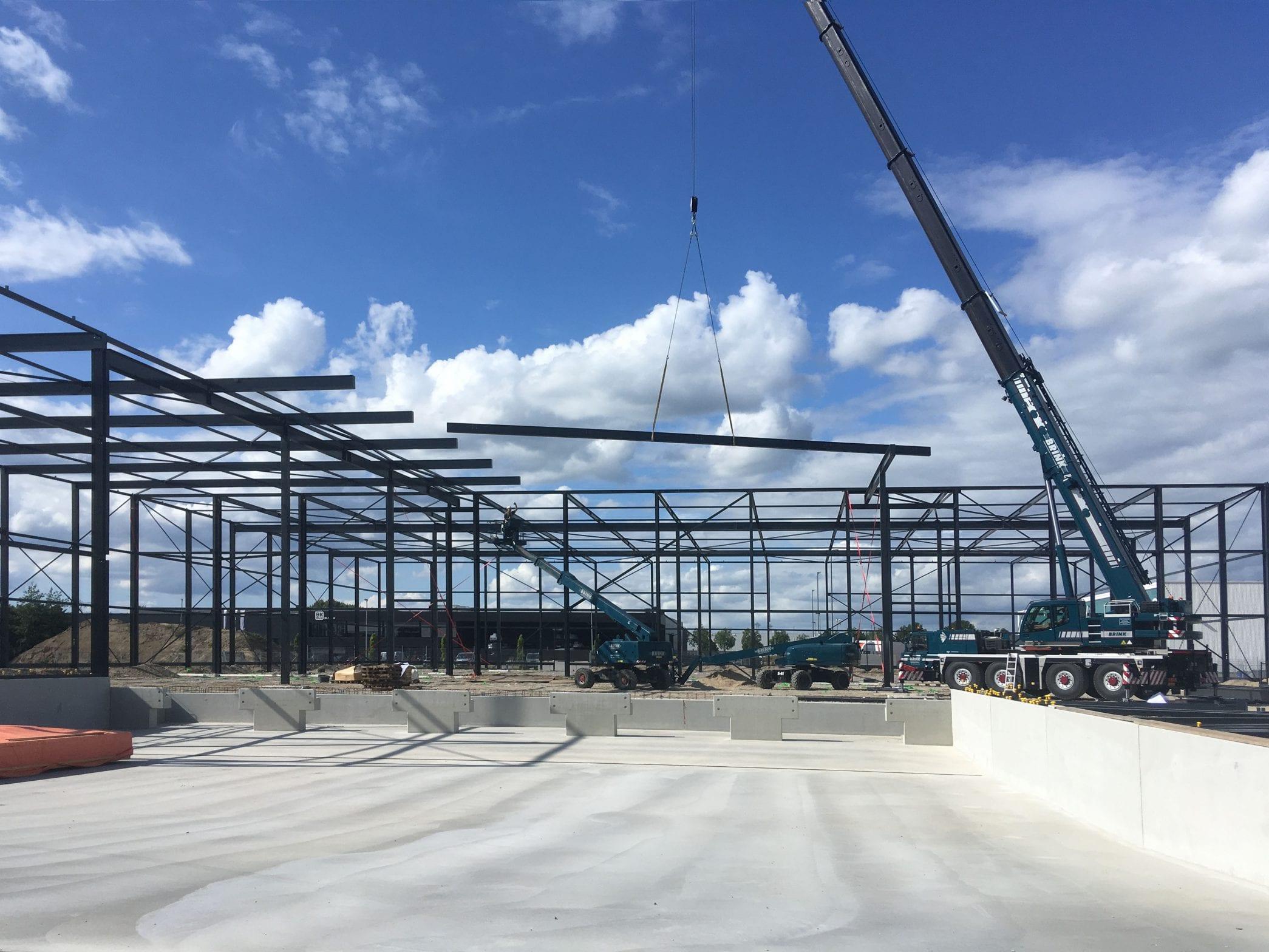 Staalconstructie nieuwbouw bedrijfspand Hemmink Zwolle
