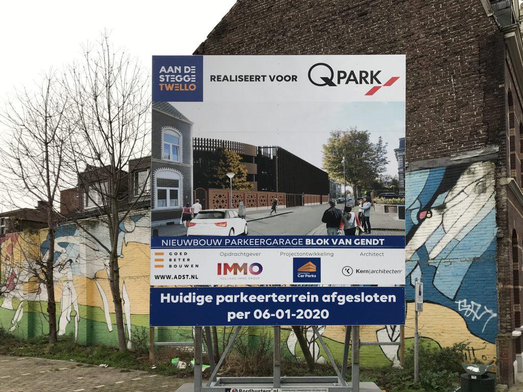 Bouwbord nieuwbouw parkeergarage Blok van Gendt Venlo