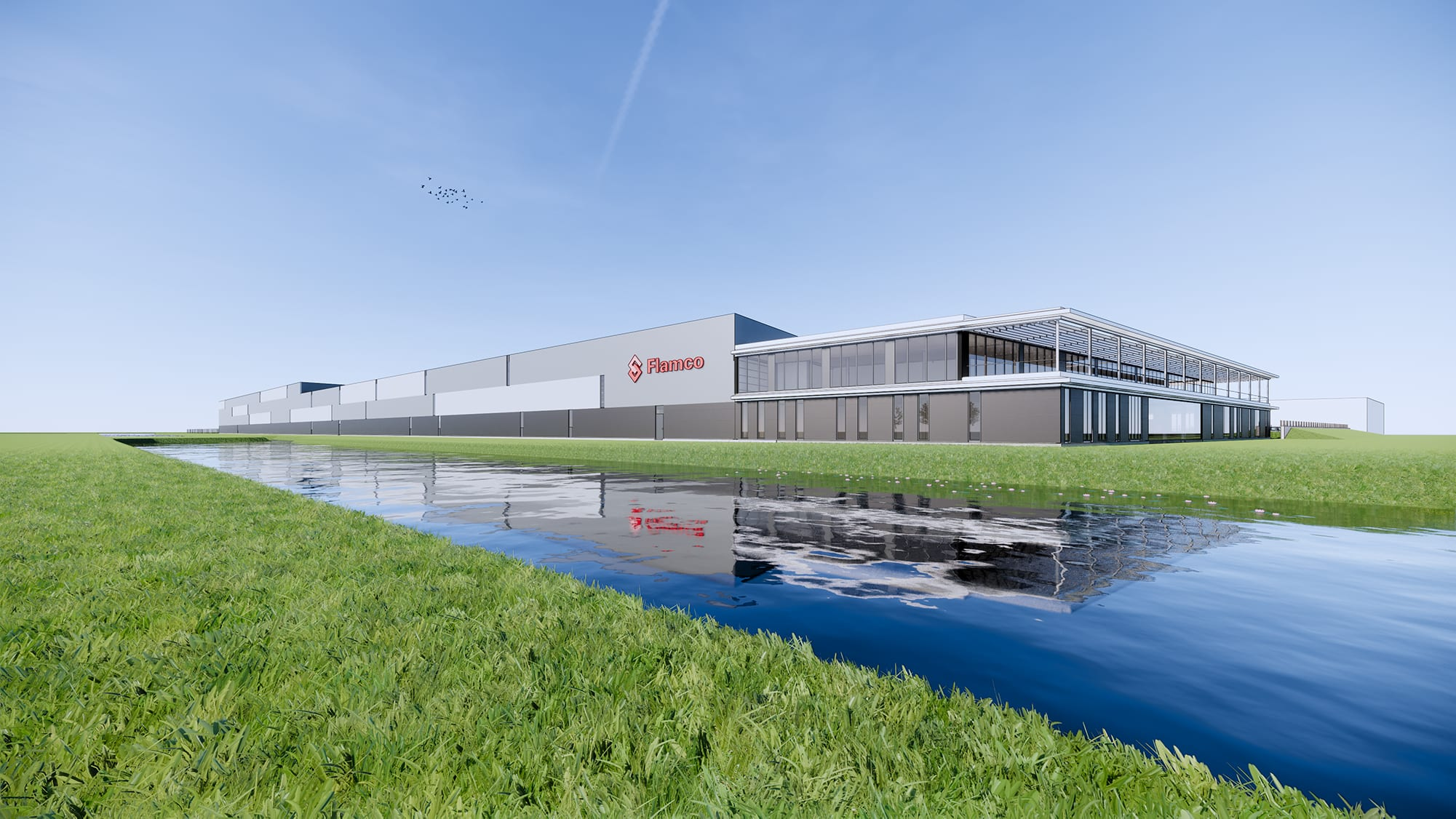 Impressie nieuw bedrijfsgebouw Flamco Almere